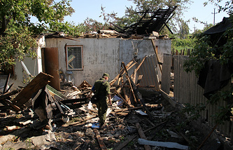 A house damaged in a shelling attack near Lugansk