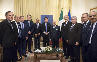 Russian Prime Minister Dmitry Medvedev and other participants of the international conference on Libya