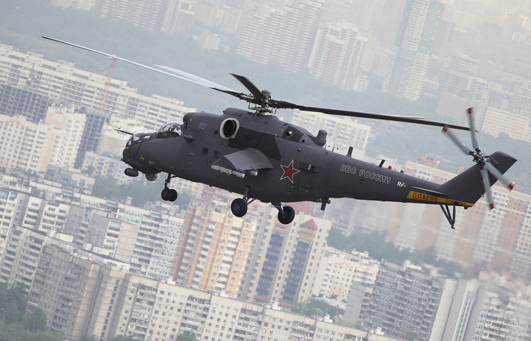 Mi-35M on its way to Crocus EXPO for HeliRussia 2013 helicopter exhibition