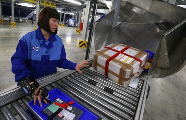 Russian post employee processing packages