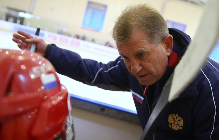 Coach of the Russian Olympic women's ice hockey team Mikhail Chekanov