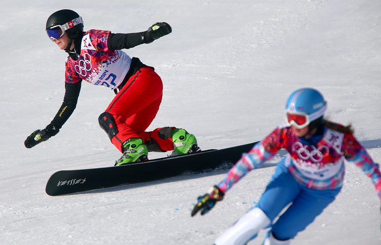 Ladina Jenny (L) of Switzerland competes against Alena Zavarzina of Russia