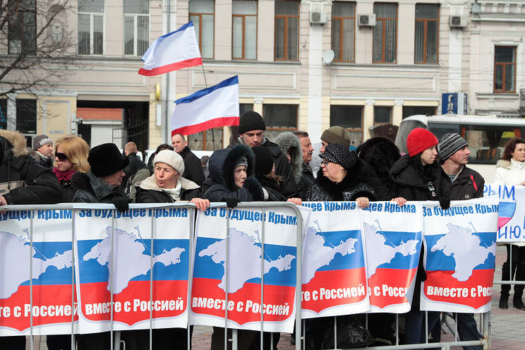 A pro-Russian demonstration in Crimea
