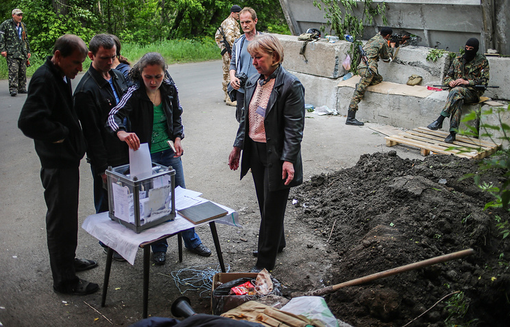 People voting at a polling station in Sloviansk