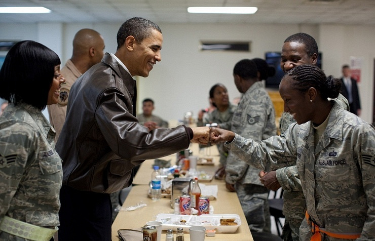 Barack Obama at the military base in 2010