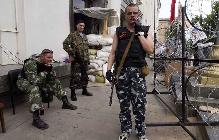 Militiamen of the self-proclaimed Luhansk People's Republic
