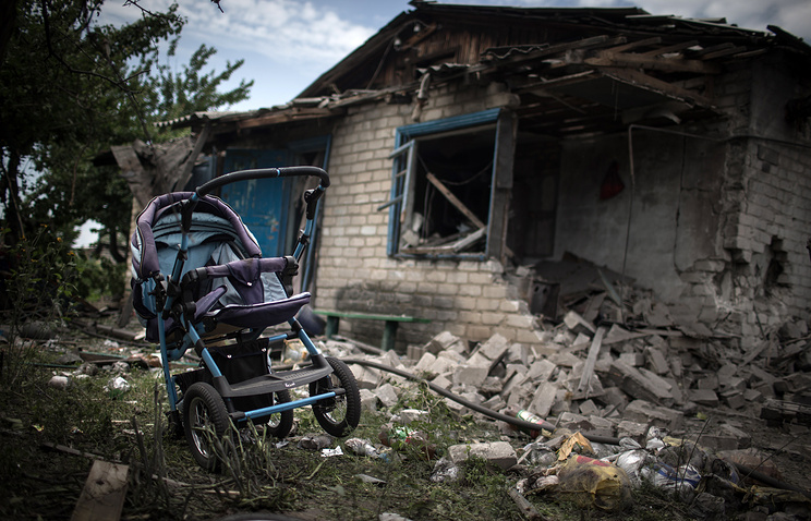 A house destroyed in an air strike carried out by Ukrainian armed forces