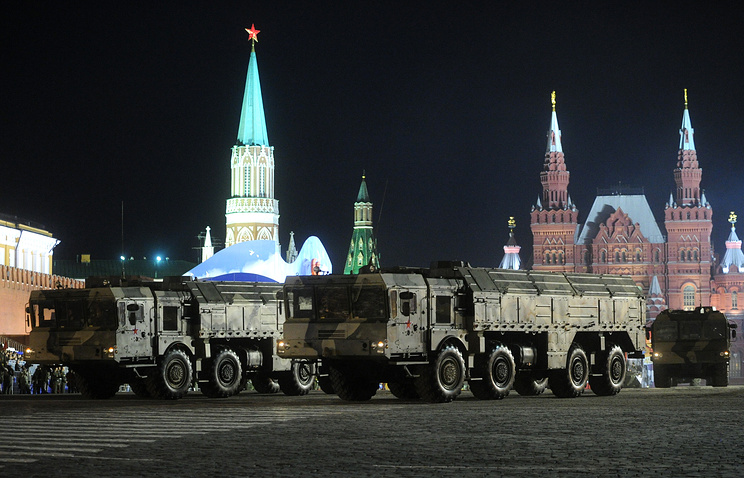 Iskander-M Tactical Ballistic Missile Systems during Victory Day parade rehearsal in 2010