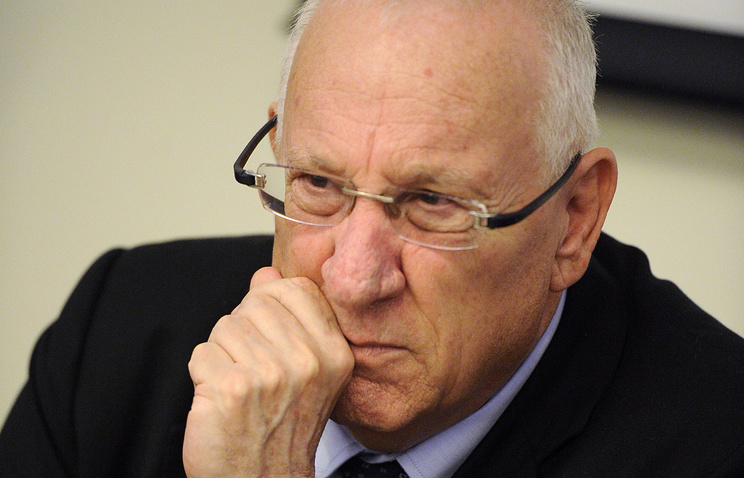 Israeli President-elect Reuven Rivlin at a press conference in Moscow