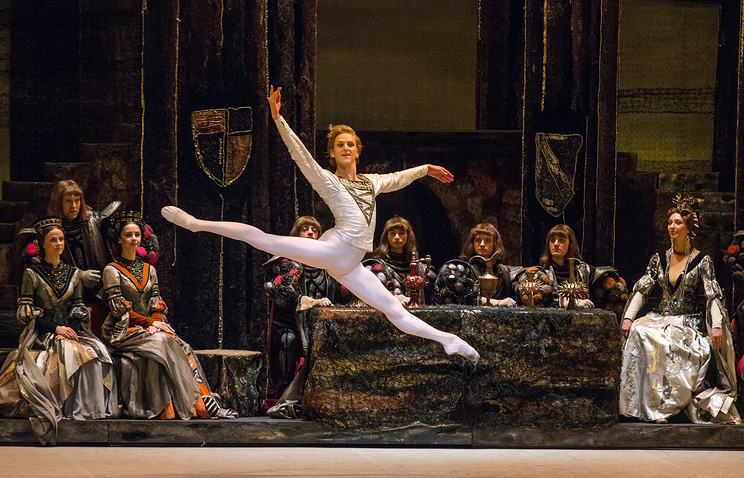 "David Hallberg as Prince Siegfried in a scene from The Bolshoi Ballet's ""Swan Lake"" presented by Lincoln Center Festival 2014 at The David H. Koch Theater in New York"