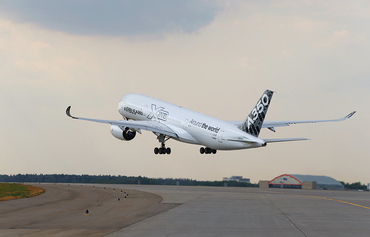 A new Airbus A350-900 aircraft with a wide fuselage taking off at Sheremetyevo International Airport in Moscow