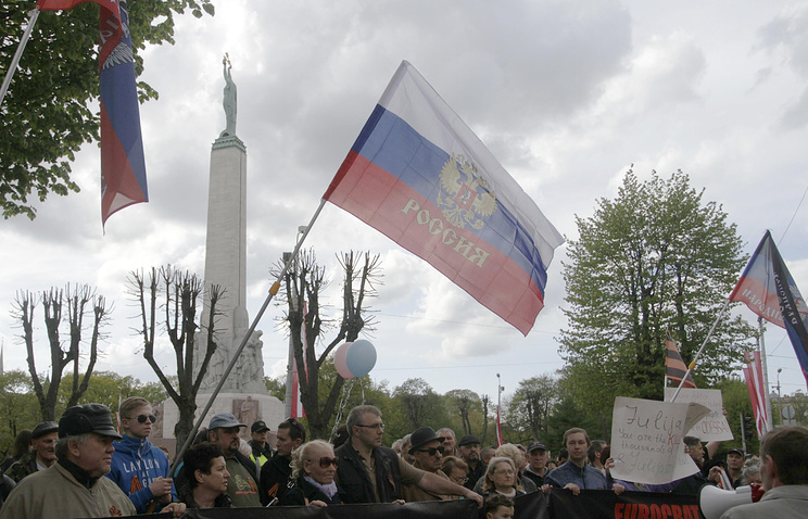 Members of the Latvian Russian Union seen in riga (archive)