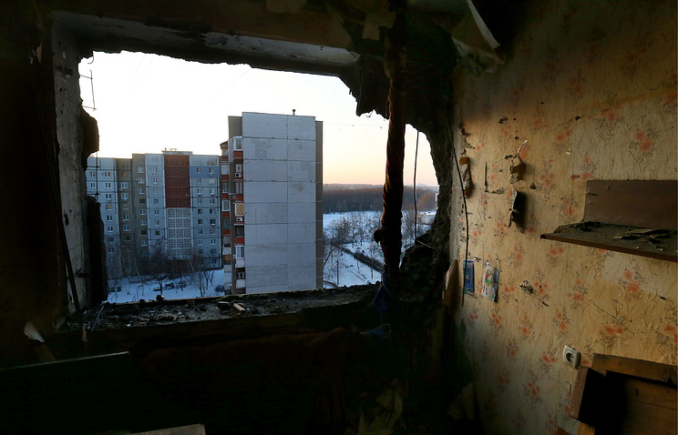 Aftermath of a shelling attack in Donetsk