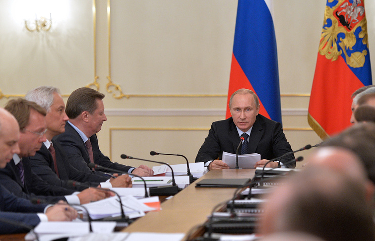 Russian President Vladimir Putin at a meeting of the Russian Military-Industrial Commission