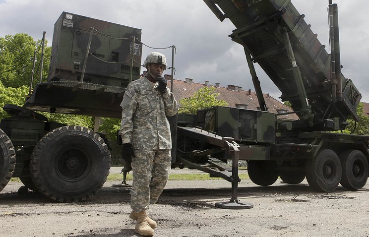 Patriot surface-to-air missile battery at an army base in Poland