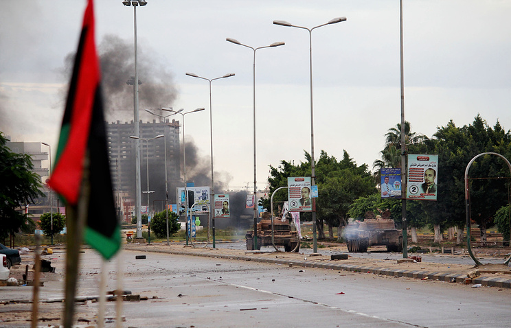 Aftermath of clashes between the Libyan military and Islamic militias in Benghazi, Libya