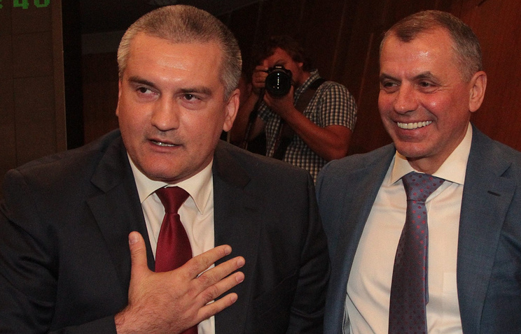 Head of Crimea's administration Sergey Aksyonov and Chairman of the State Council of Crimea Vladimir Kostantinov