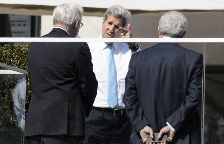 US Secretary of State John Kerry during a break from a bilateral meeting with Iranian Foreign Minister Mohammad Javad Zarif