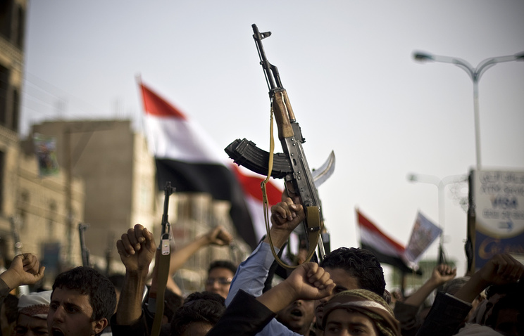 Houthis at a protest against Saudi-led airstrikes in Sanaa, Yemen