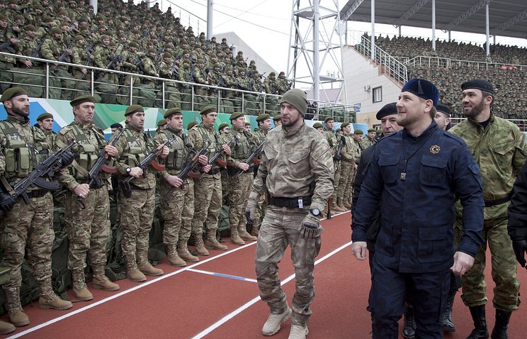 Chechen leader Ramzan Kadyrov after addressing the people of Chechnya and Russia in December 2014