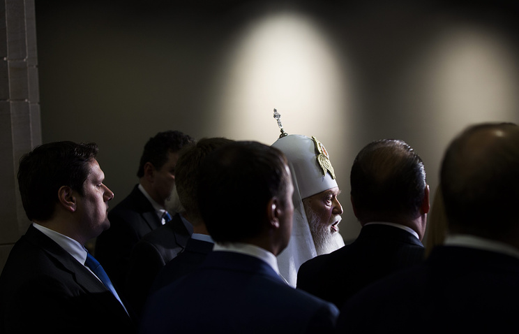 Ukraine's Patriarch Filaret in Washington in February, 2015