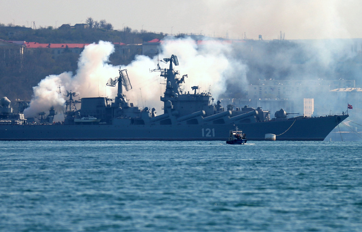 Black Sea Fleet's flagship missile-carrying cruiser Moskva
