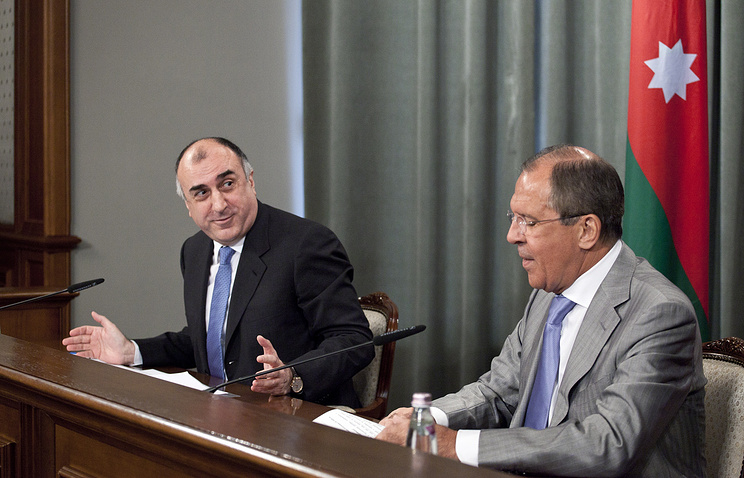 Azerbaijan's Foreign Minister Elmar Mamedyarov and Russian Foreign Minister Sergey Lavrov