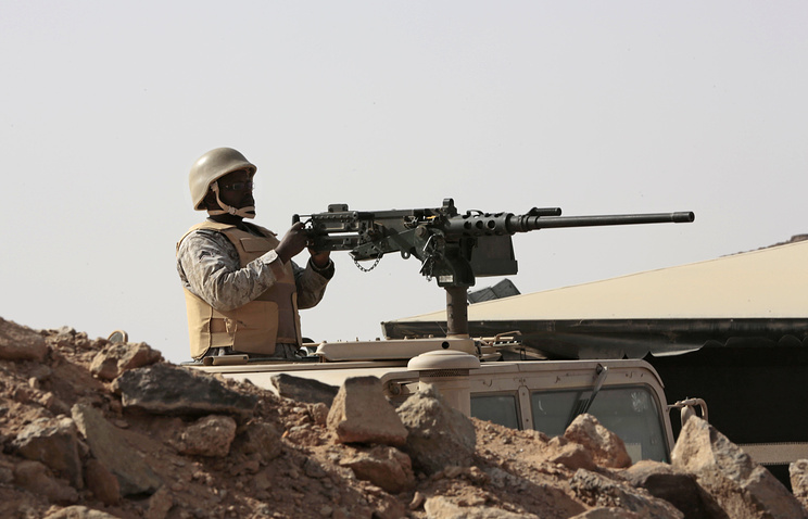A Saudi soldier seen on the border with Yemen