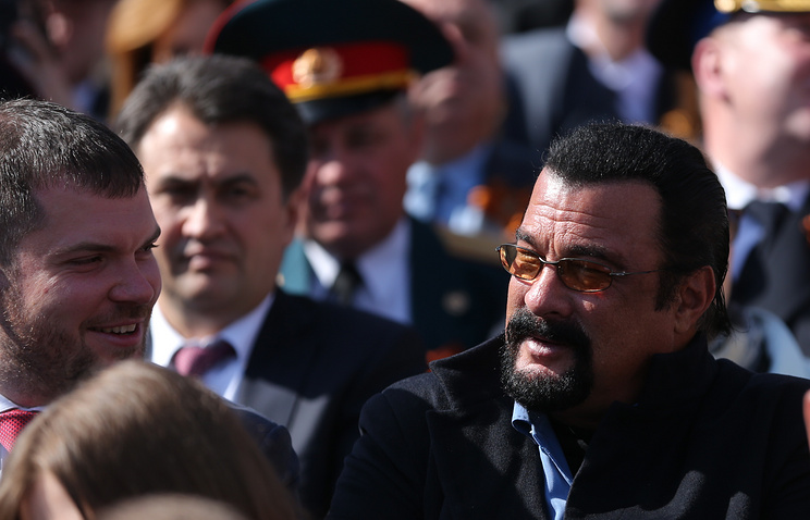 US actor Steven Seagal at the Victory Day military parade in Moscow, May 2015