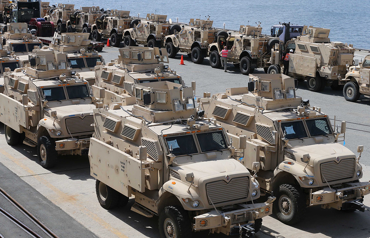 US mine-resistant ambush protected (MRAP) vehicles