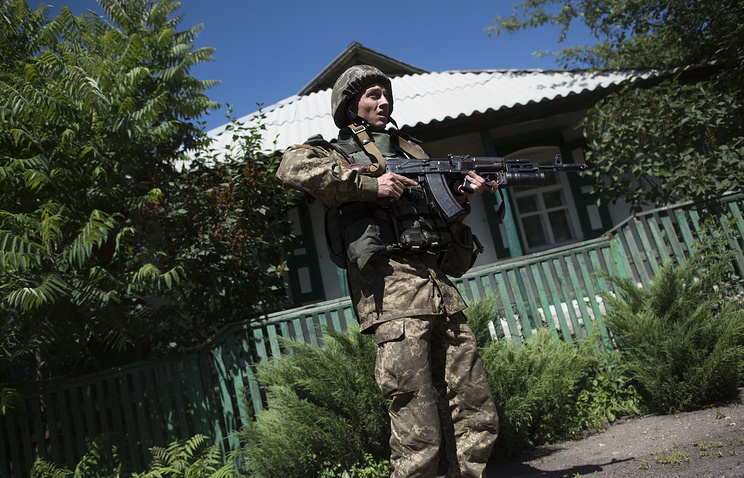 A Ukrainian border guard on patrol in east Ukraine's Luhansk region