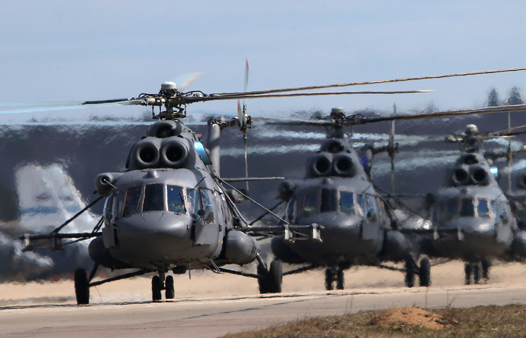 Mi-8MTV-5 military transport helicopters