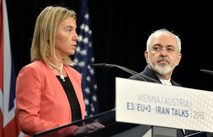 EU foreign policy chief Federica Mogherini and Iran's Foreign Minister Javad Zarif