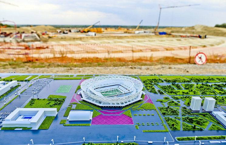 A model of the stadium on display at the construction site of the FIFA World Cup 2018 Stadium in Volgograd, Russia
