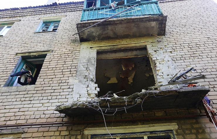 Residential house damaged in shelling of Gorlovka