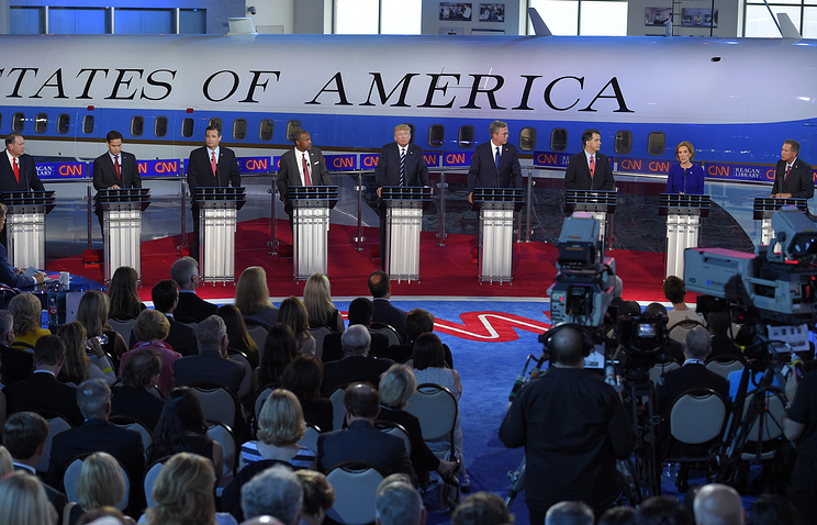 Republican presidential candidates during the CNN Republican presidential debate