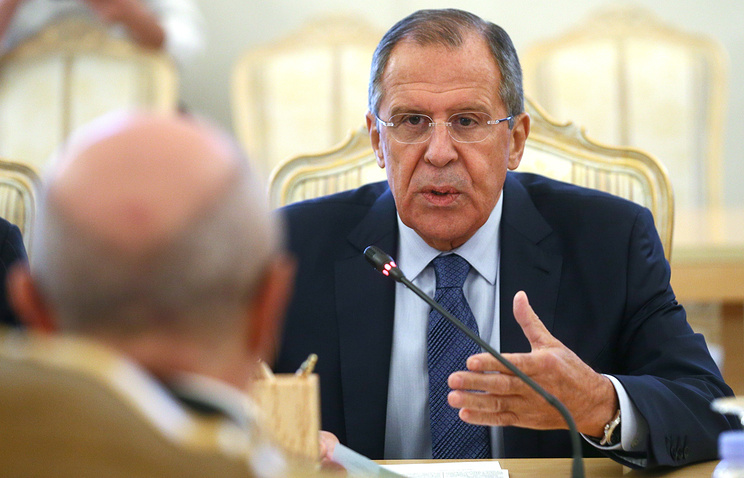 Russia's Foreign Minister Sergey Lavrov at the meeting with OSCE's Secretary General Lamberto Zannier