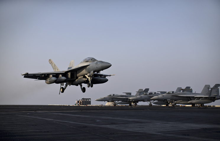 US Navy fighter jet, supporting military operation against IS in Syria