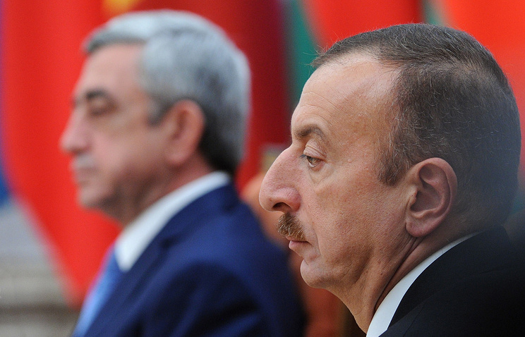 Armenian and Azerbaijan's presidents Serzh Sargsyan and lham Aliyev