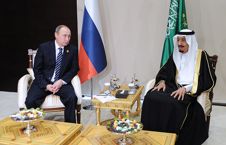 Russian President Vladimir Putin and the King of Saudi Arabia, Salman bin Abdulaziz Al Saud