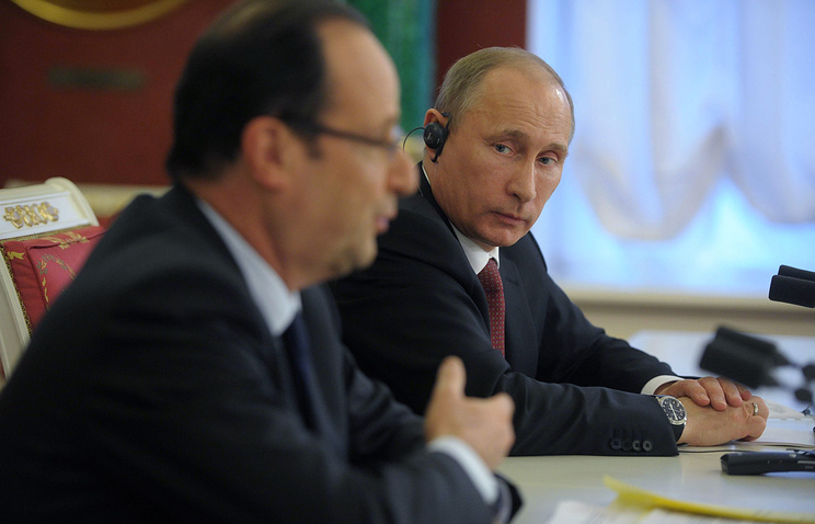 French and Russian presidents, Francois Hollande and Vladimir Putin