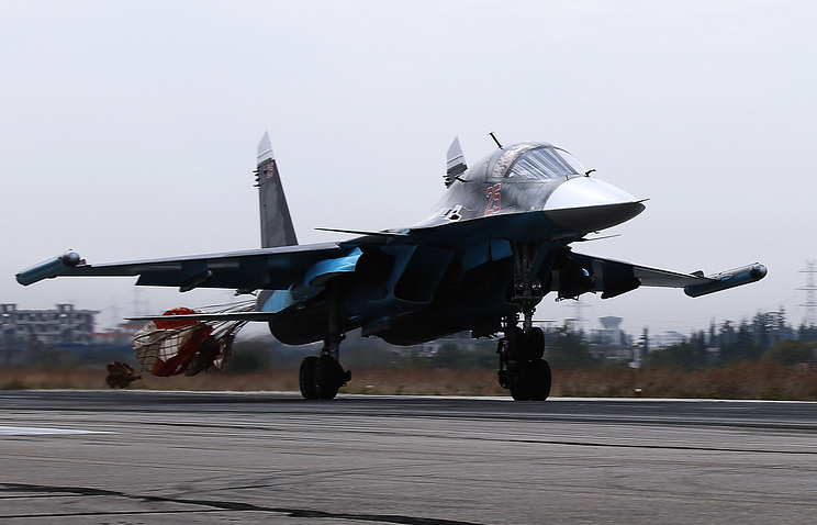 Su-30SM multirole fighter aircraft at Syrian Hmeymim airbase