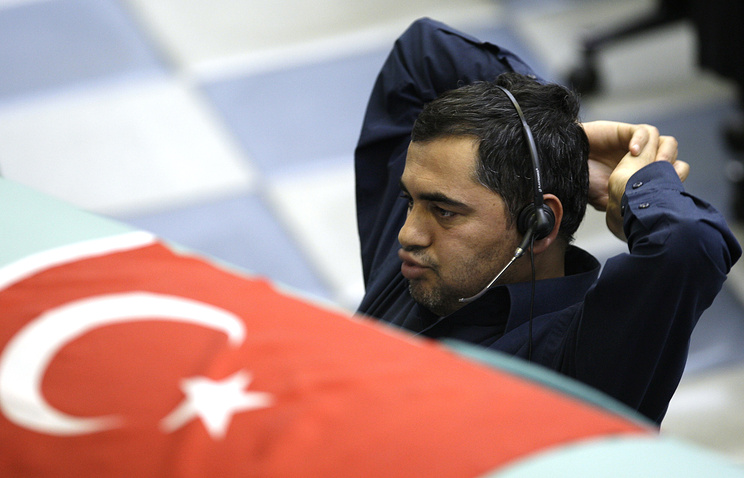 Trader on the floor of Istanbul Stock Exchange