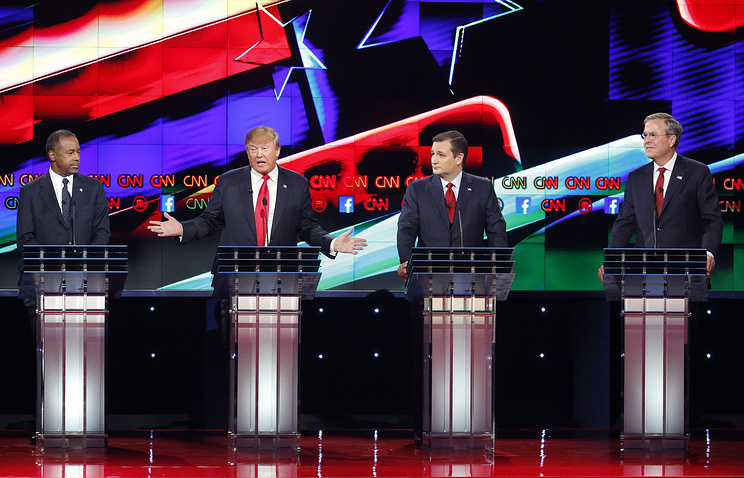 US presidential candidates seen during Republican presidential debate