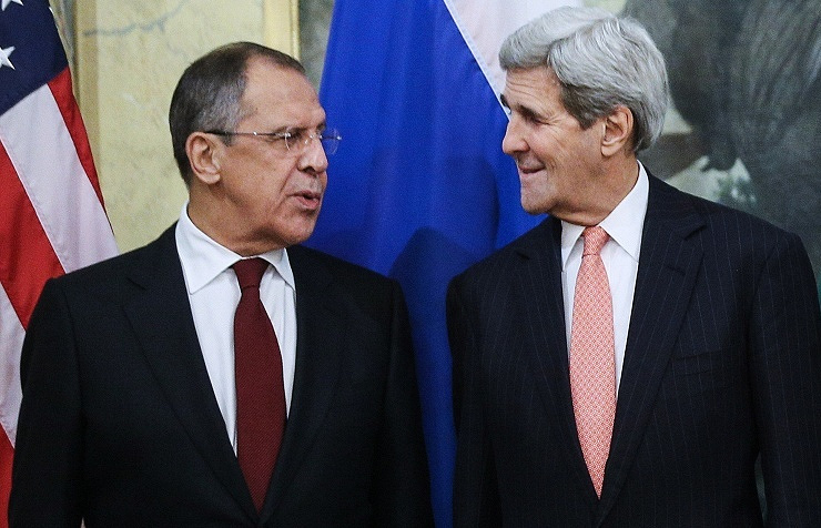 Sergey Lavrov (left) and John Kerry