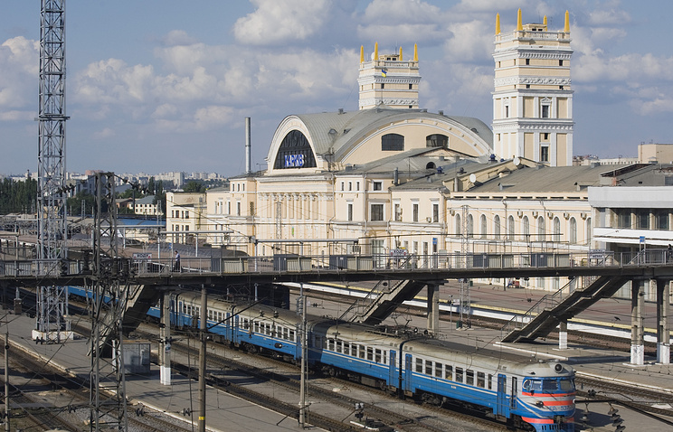 Railway station in Kharkiv, Ukraine