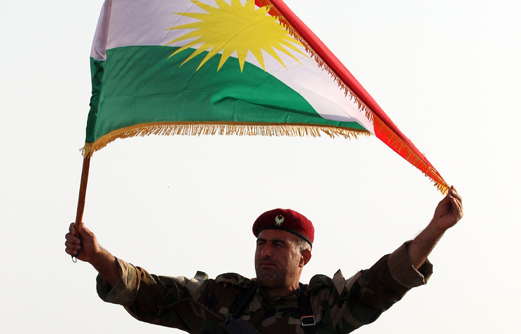 A Kurdish Peshmerga soldier holds a Kurdish flag (archive)