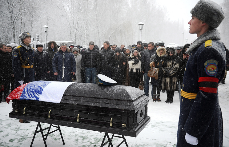 A coffin with the body of Russian Air Force pilot Oleg Peshkov, the commander of the Russian Sukhoi Su-24M bomber aircraft downed on November 24, 2015