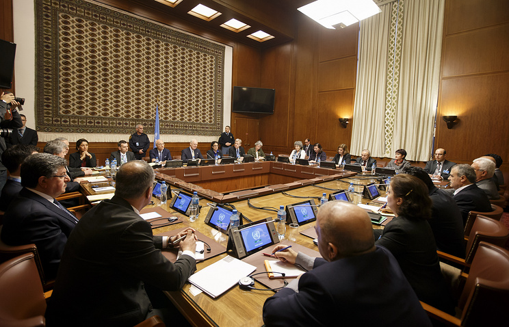 Syria peace talks that were suspended in Geneva, Feb 1 2016