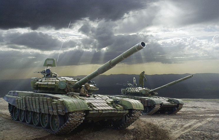 Tanks at Russia's Lyaur military range in Tajikistan